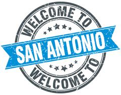 Welcome to San Antonio blue round vintage stamp Stock Illustration
