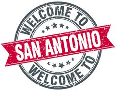 Welcome to San Antonio red round vintage stamp Stock Illustration