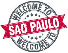 welcome to Sao Paulo red round vintage stamp - stock illustration