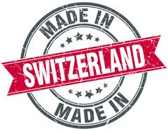 made in Switzerland red round vintage stamp - stock illustration
