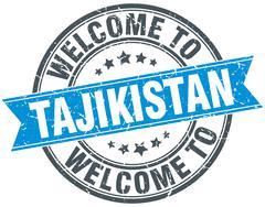 Welcome to Tajikistan blue round vintage stamp Stock Illustration