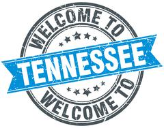 welcome to Tennessee blue round vintage stamp - stock illustration