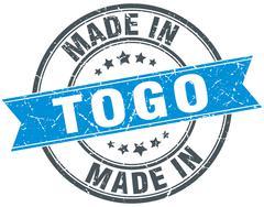 Made in Togo blue round vintage stamp Stock Illustration