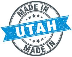 Made in Utah blue round vintage stamp Stock Illustration