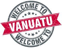 welcome to Vanuatu red round vintage stamp - stock illustration