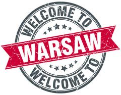 welcome to Warsaw red round vintage stamp - stock illustration