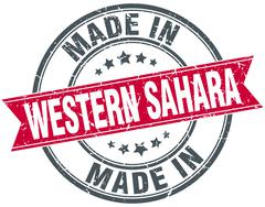 Stock Illustration of made in Western Sahara red round vintage stamp