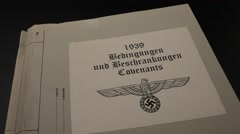 NAZI WAR DOCUMENT BINDER / CLEARED ARTWORK Stock Footage