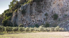Ancient rock tombs, Dalyan, Turkey. 4k Stock Footage