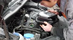 Motor engine oil change Stock Footage