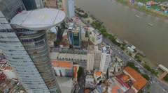 View of the financial Bitexco tower in the center of Ho Chi Minh City, Vietnam Stock Footage