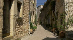 Narrow street with climbing plants in Tourrettes-sur-Loup Stock Footage
