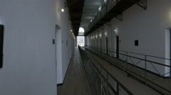 Rooms from the first floor seen from the balcony at Sighet Memorial Museum Stock Footage
