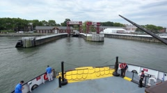 Governors Island Approach On Ferry Stock Footage