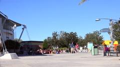 People on boardwalk. Stock Footage