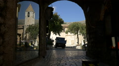 Van parked in Place de la Libération, on a sunny day in Tourrettes-sur-Loup Stock Footage