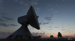 4K Time lapse zoom out Parabolic Antenna Sunrise Stock Footage