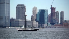 Manhattan Skyline As Sailboat Passes - stock footage