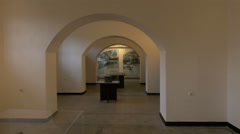 Room with arches at the last floor of Sighet Memorial Museum Stock Footage
