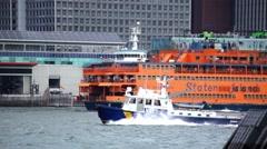 Staten Island Ferry Departs Manhattan Stock Footage