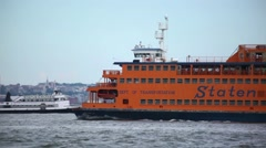 Staten Island Ferry Passes By Governors Island Stock Footage