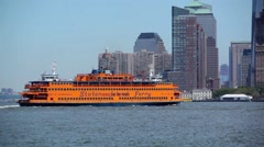 Staten Island Ferry Passing New York City Skyline Stock Footage
