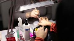 Nail salon . Manicure Stock Footage