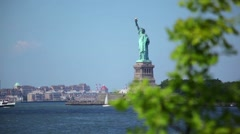 Statue Of Liberty From Governors Island Stock Footage