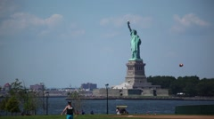 Statue Of Liberty As Seen From Governors Island Stock Footage