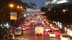 Eving traffic in Bangkok city - Time Lapse Stock Footage