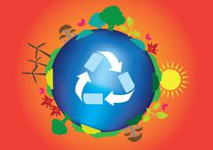 Save Planet Earth Ecological Concept Vector Illustration - stock illustration