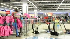 Khimki, Moscow - Interior Sportmaster store  a large network Stock Footage