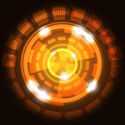 Abstract technology orange background with circles Stock Illustration
