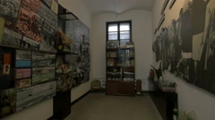 Room with objects belonging to the communist era at Sighet Memorial Museum Stock Footage