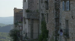 Old stone buildings seen in the hilltop village of Tourrettes-sur-Loup Stock Footage