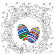 eggs decoration with doodle flowers - stock illustration