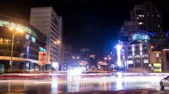 Kiev, Ukraine, February 11, 2016: Timelaps. fast cars go down the avenue in Kiev Stock Footage
