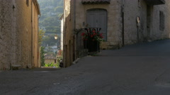 Picturesque narrow street with its stone houses and flowers, Tourrettes-sur-Loup Stock Footage