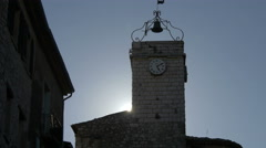 Tke clock tower of Porte de L'Horloge in Tourrettes-sur-Loup Stock Footage