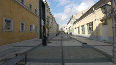 People walking on Corneliu Coposu street close to Sighet Memorial Museum Stock Footage