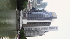 Vertical View of High Rise Buildings of Boat Quay Stock Footage