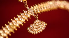 Gold jewellery closeup view.  Stock Footage