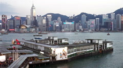 Victoria harbour star ferry terminal Stock Footage