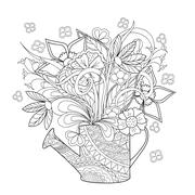 doodle flowers and herb - stock illustration