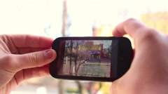 Recording video on a mobile phone2 Stock Footage