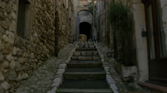 Tilt view of Rue Sainte Luce in the old town of Vence, France Stock Footage