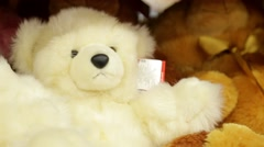 Soft toy bear on the counter in the store Stock Footage