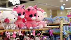 Soft toys on the counter in the store Stock Footage