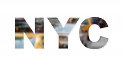 NYC text with blurred city traffic Stock Footage