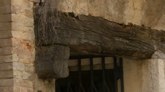 Wooden beam on an old house in Vence Stock Footage